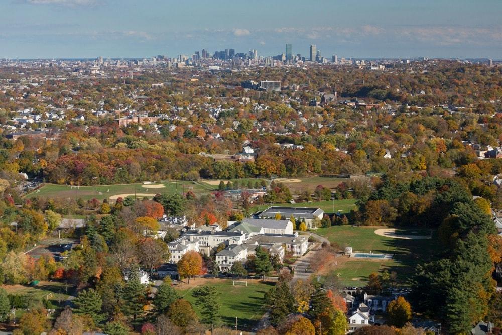 Fessenden School, Newton, MA aerial autumn