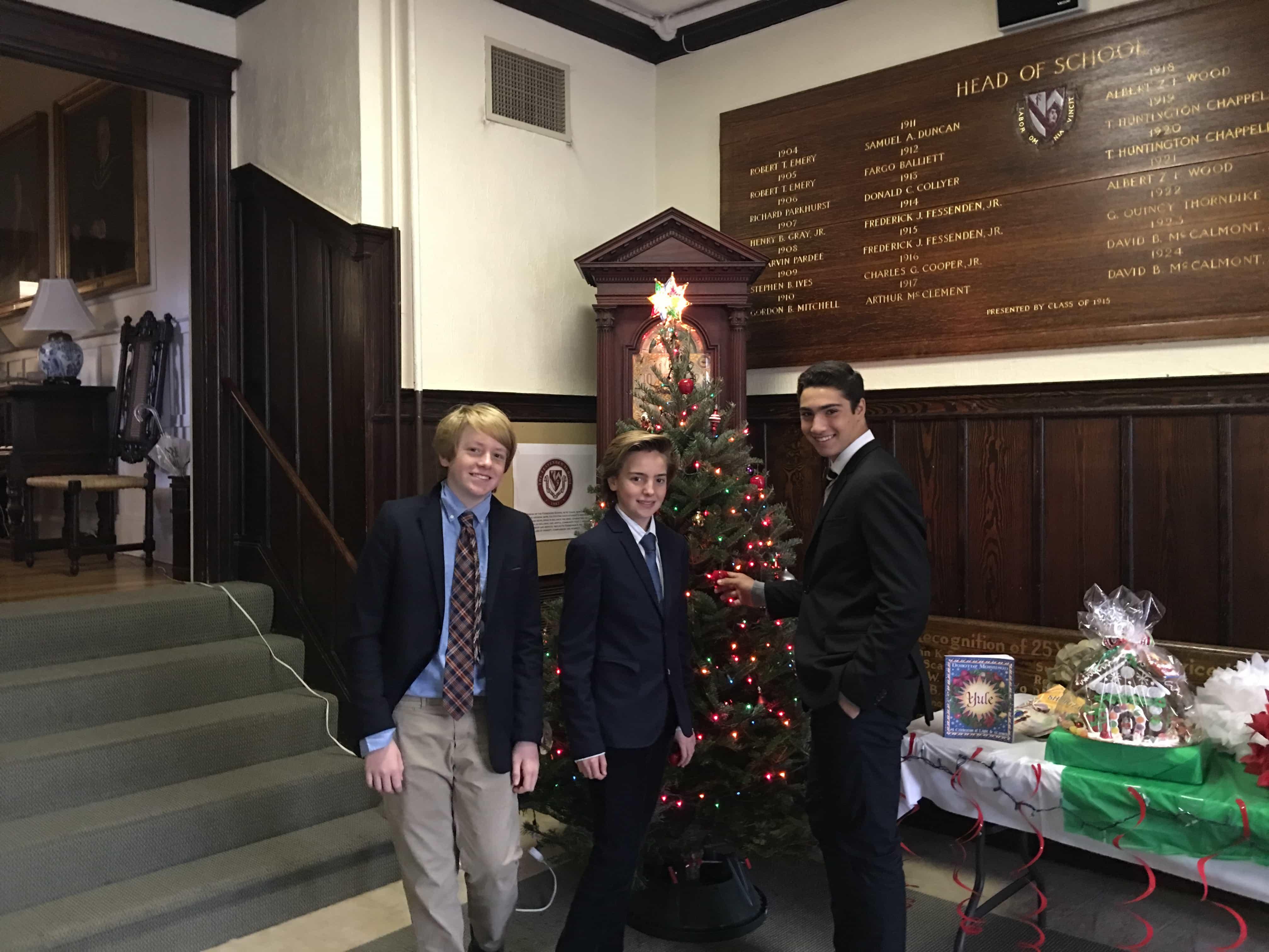 boys with xmas tree