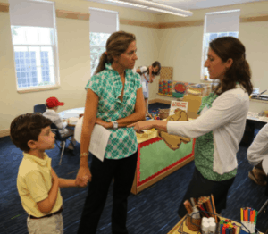 Parents visiting private kindergarten